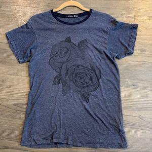 Wildfox Black Rose Print T-Shirt Gray XS Graphic